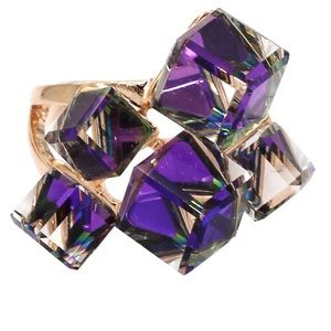 Square candy crystal rose gold purple ring